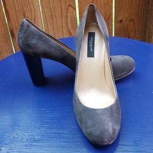 Ann Taylor Brush Grey Suede Heels